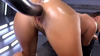 Double anal fucking machine penetration