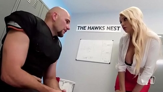 Big stacked blonde Kenzie Taylor coaching a big cock