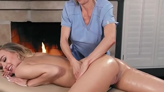 Busty client enjoys say no to first Thai massage # Natalia Starr and Alexis Fawx