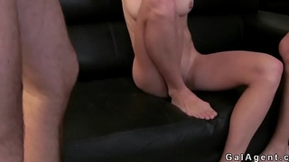 Skinny model threesome fuck at casting
