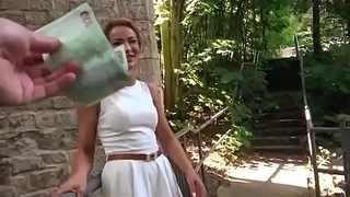 Cherry Kiss sexy teen for cash do blowjob in public place