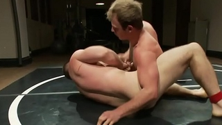 Stud anally drilled after wrestling