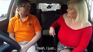 Chunky mature fucks in driving school car