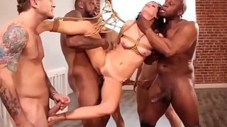 Brunette bitch is abused by group of guys!!! -Punishland.com
