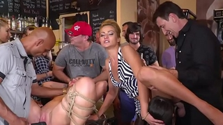 Serbian submissive slave fucked in public